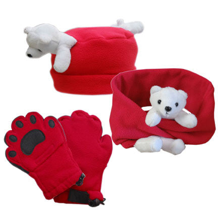 Polar Bear on Red Fleece Buddy Hat, Scarf & Mittens