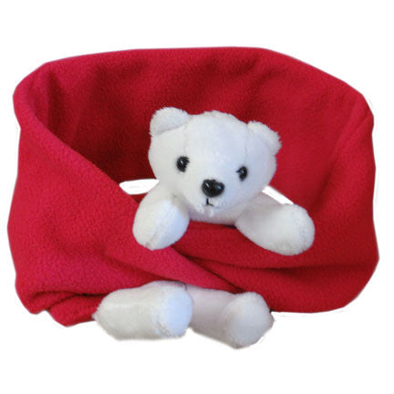 Polar Bear on Red Fleece Buddy Scarf