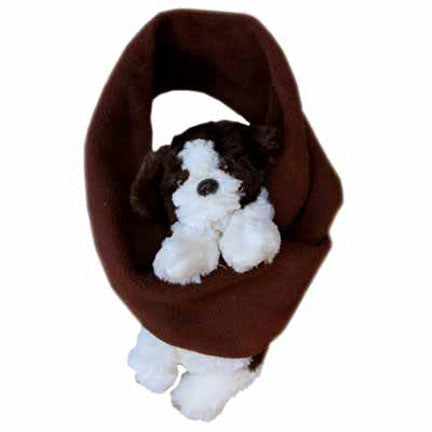 Puppy on Brown Fleece Buddy Scarf