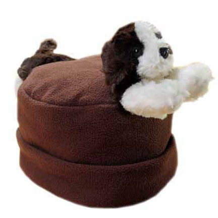 Puppy on Brown Fleece Buddy Hat