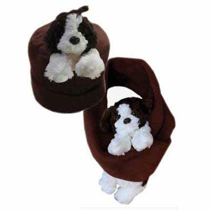 Puppy on Brown Fleece Buddy Hat & Scarf