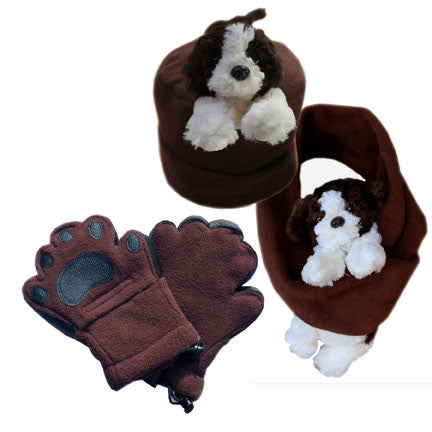 Puppy on Brown Fleece Buddy Hat, Scarf & Mittens