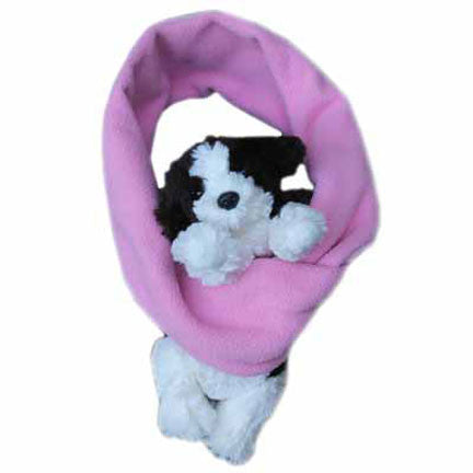 Puppy on Pink Fleece Buddy Scarf