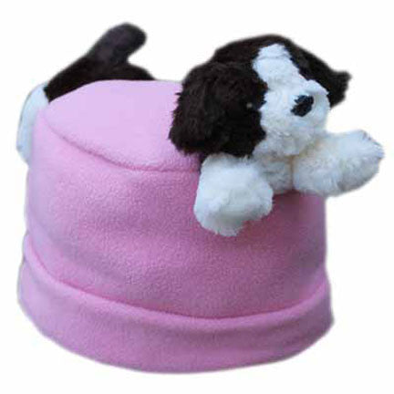 Puppy on Pink Fleece Buddy Hat