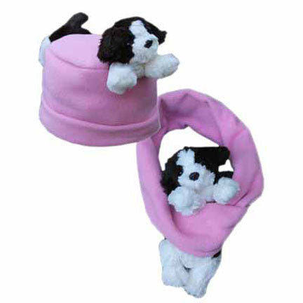 Puppy on Pink Fleece Buddy Hat & Scarf