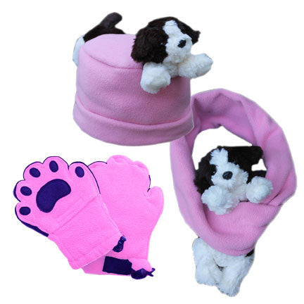 Puppy on Pink Fleece Buddy Hat, Scarf & Mittens