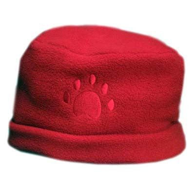 RED Paw Print Fleece Hat