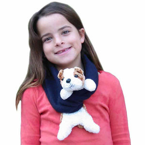 Tan & White Dog on Navy Fleece Buddy Scarf