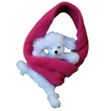 White Poodle on Fuchsia Fleece Buddy Scarf