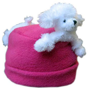 White Poodle on Fuchsia Fleece Buddy Hat