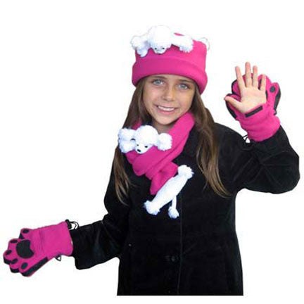 White Poodle on Fuchsia Fleece Buddy Hat, Scarf & Mittens