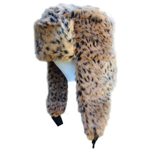 Youth/Adult Leopard Faux Fur Trapper Hat