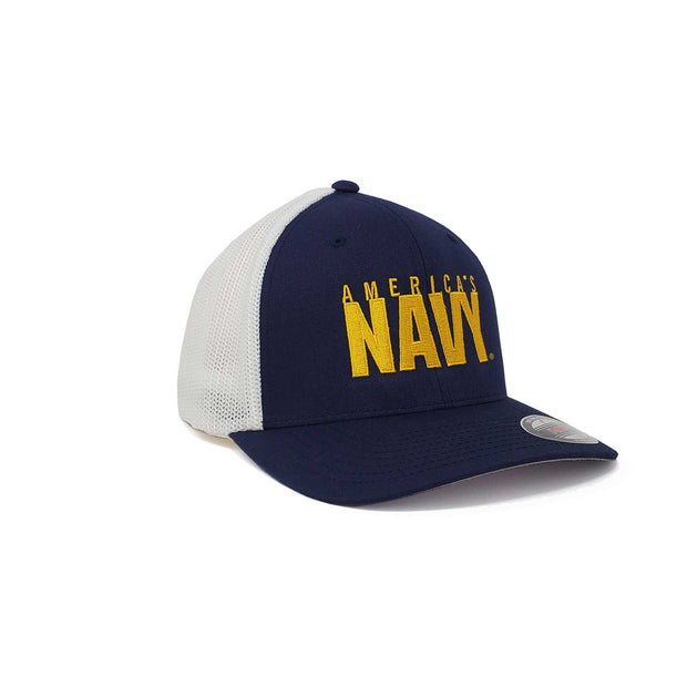 America's Navy and White Flex Fit Trucker Hat
