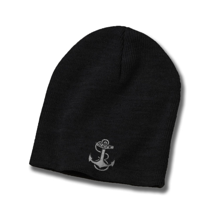 Navy Anchor American-Made Subdued Watch Cap - Black