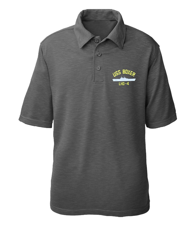 USS Boxer LHD-4 Performance Polo - Made in America