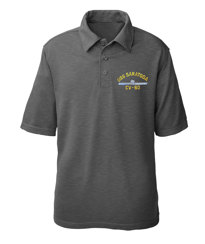 USS Saratoga CV-60 Performance Polo - Made in America
