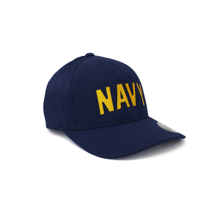 Navy Arched Flex Fit Hat - Navy & Gold