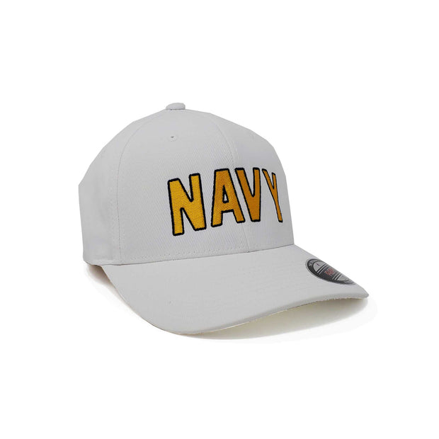 Navy Arched Flex Fit Hat - White & Gold