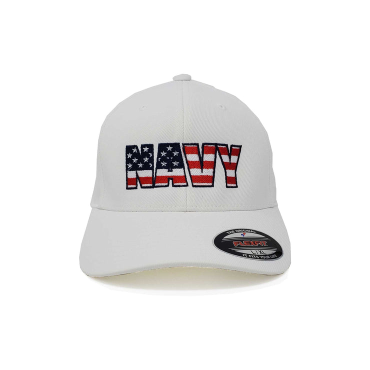 Navy Flag Flex Fit Hat - White