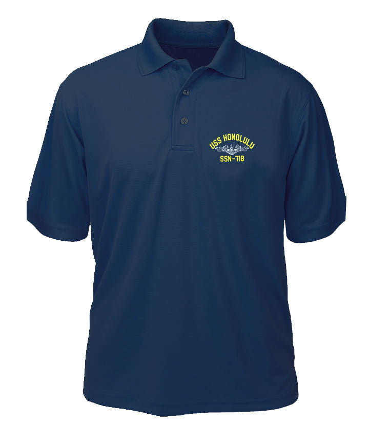 USS Honolulu SSN-718 Performance Polo - Made in America