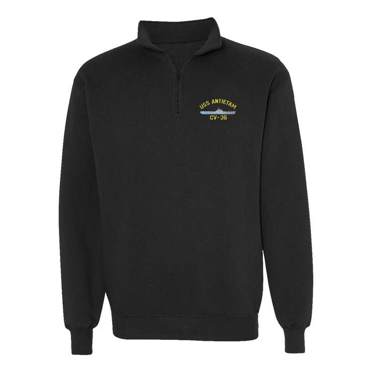 USS Antietam CV-36 1/4 Zip Sweatshirt - American Made