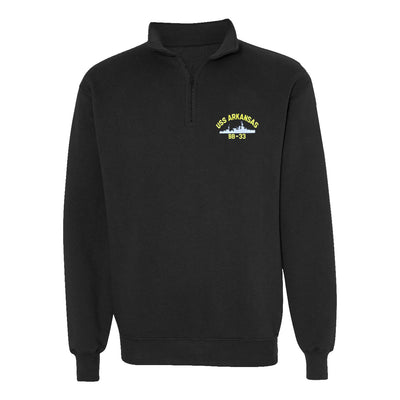 USS Arkansas BB-33 1/4 Zip Sweatshirt - American Made