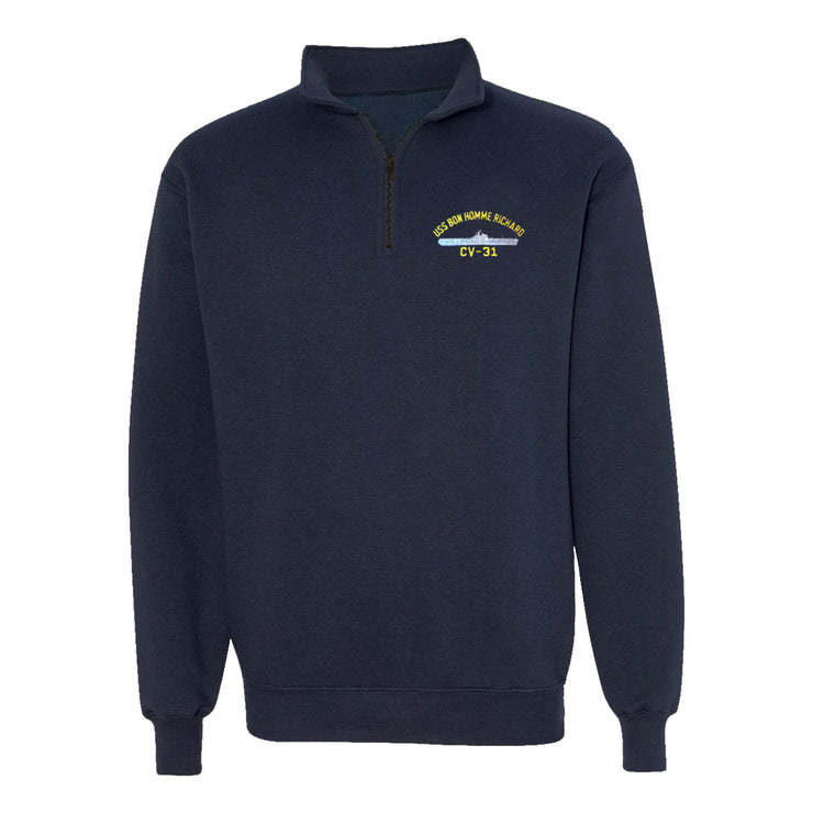USS Bon Homme Richard CV-31 1/4 Zip Sweatshirt - American Made