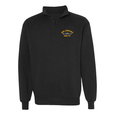 USS Chicago SSN-721 1/4 Zip Sweatshirt - American Made