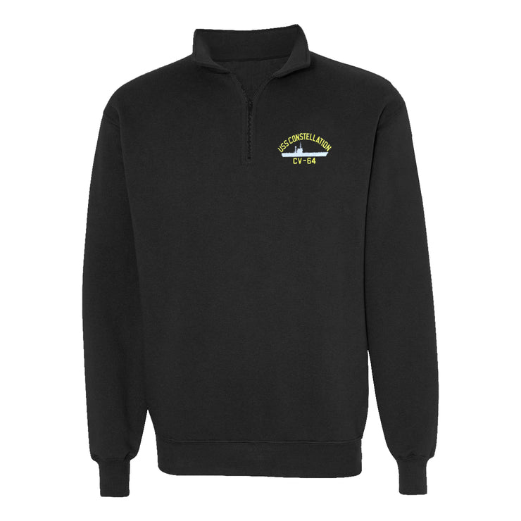USS Constellation CV-64 1/4 Zip Sweatshirt - American Made