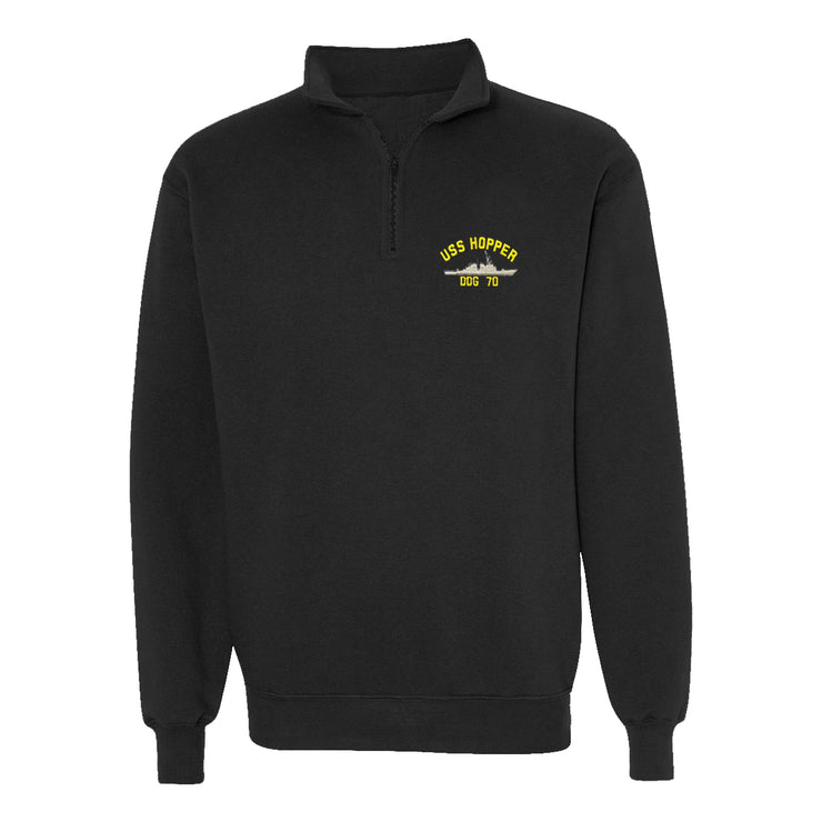 USS Hopper DDG-70 1/4 Zip Sweatshirt - American Made