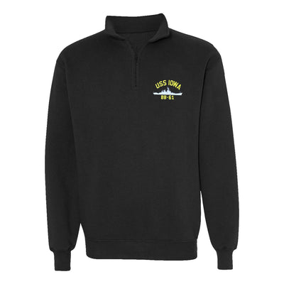 USS Iowa BB-61 1/4 Zip Sweatshirt - American Made