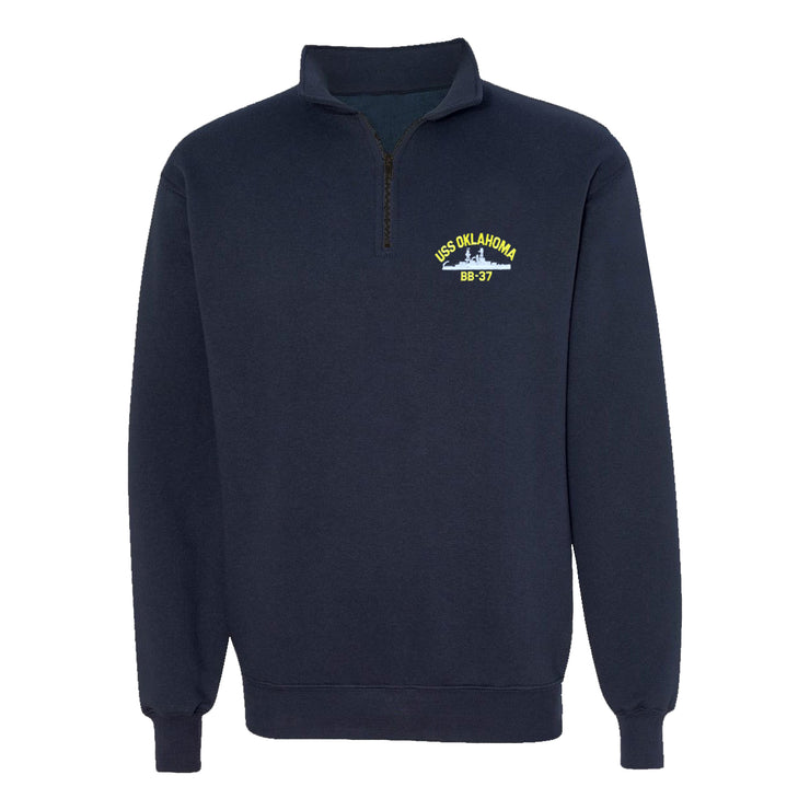 USS Oklahoma BB-37 1/4 Zip Sweatshirt - American Made