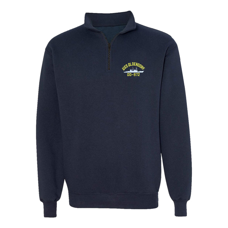 USS Oldendorf DD-972 1/4 Zip Sweatshirt - American Made
