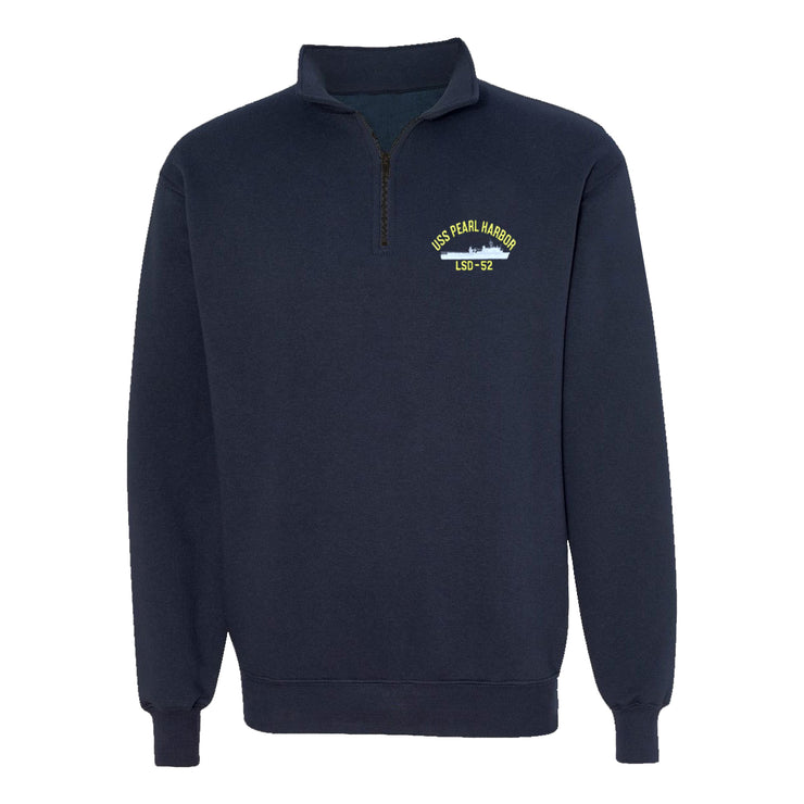 USS Pearl Harbor LSD-52 1/4 Zip Sweatshirt - American Made