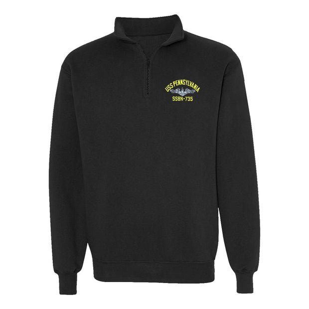 USS Pennsylvania SSBN-735 1/4 Zip Sweatshirt - American Made