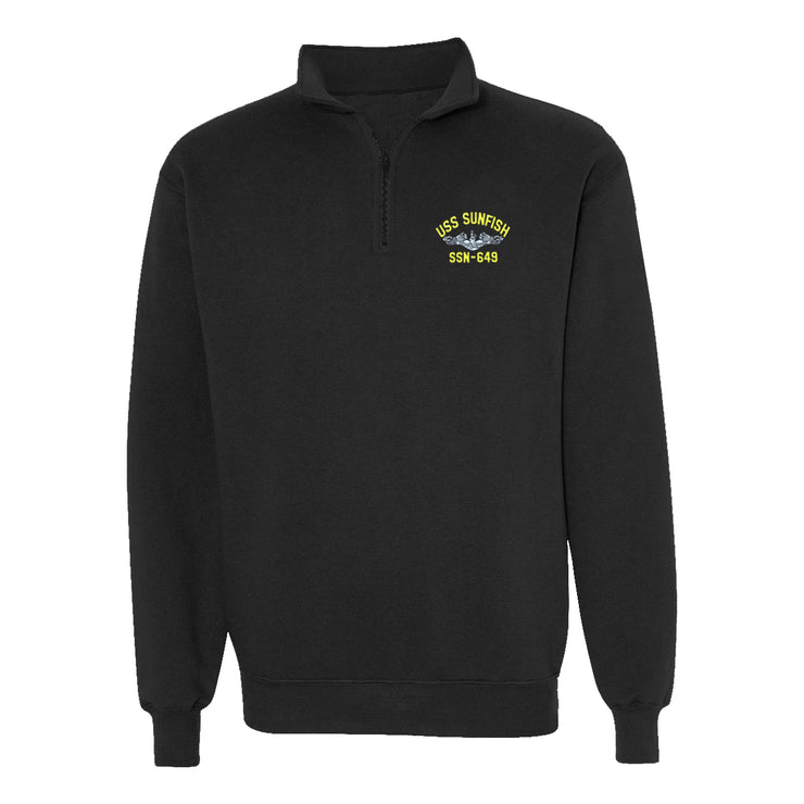 USS Sunfish SSN-649 1/4 Zip Sweatshirt - American Made