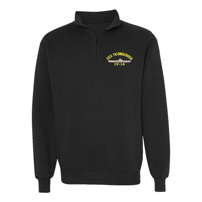 USS Ticonderoga CV-14 1/4 Zip Sweatshirt - American Made