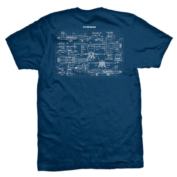 Naval Aviation F/A-18A Hornet Blueprint T-Shirt
