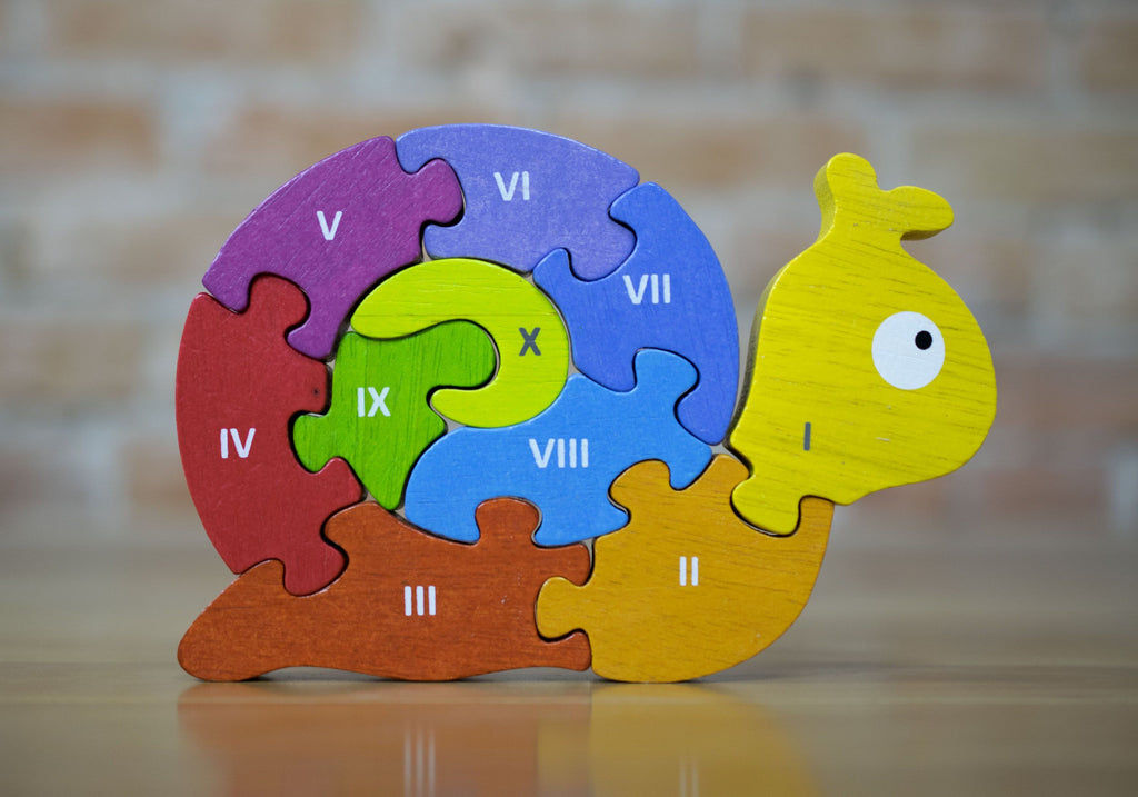 BeginAgain Wooden Number Puzzle Snail