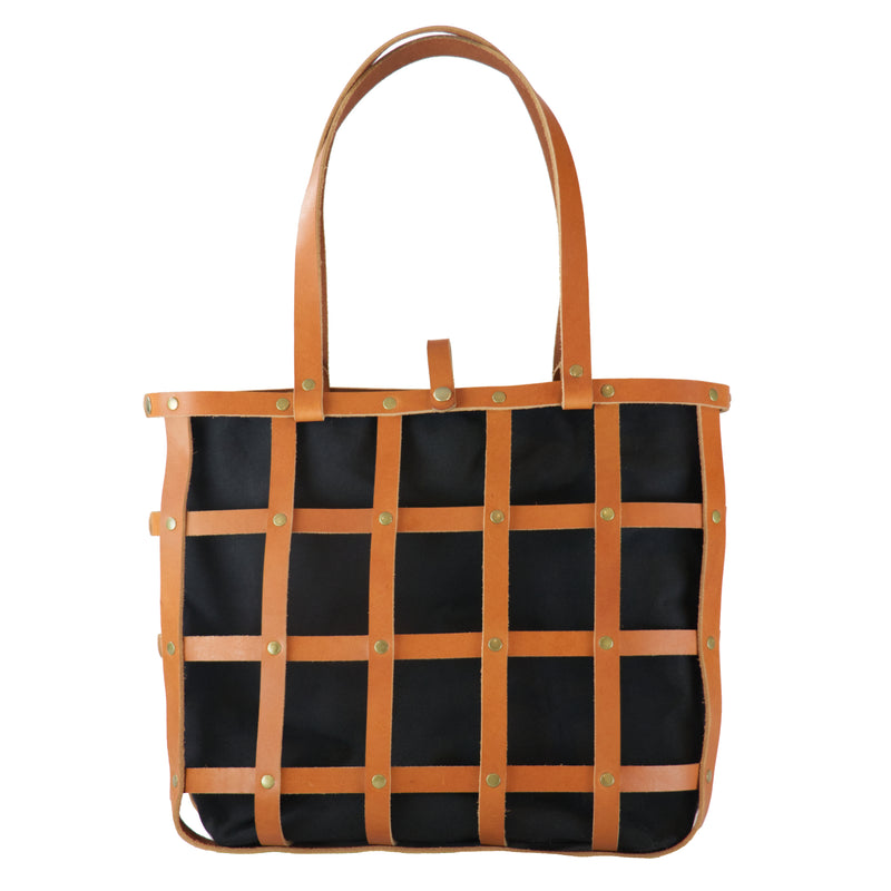 Leather Cage Tote: Chestnut