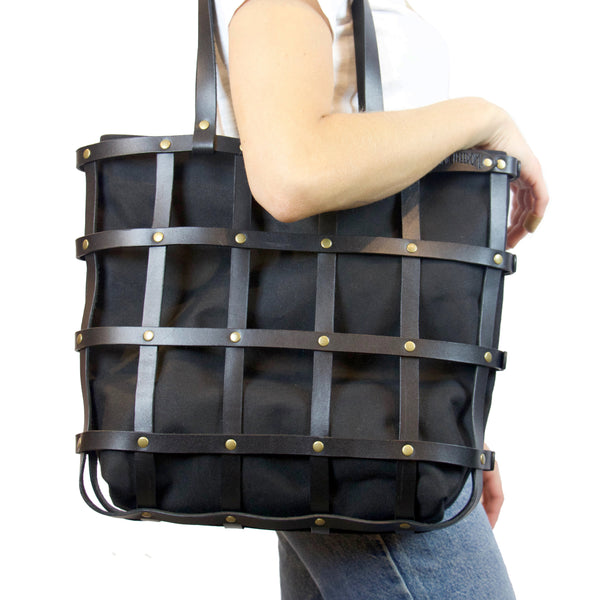 Leather Cage Tote: Black