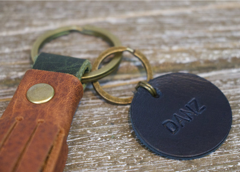 Leather Monogrammed keychain