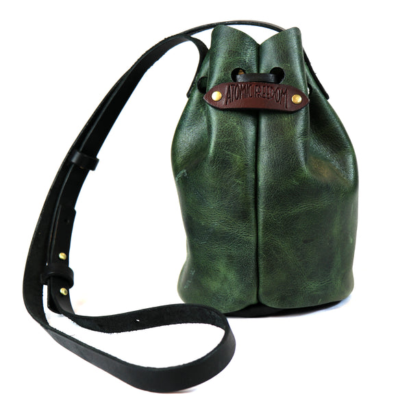 Leather Mini Bucket Purse Green