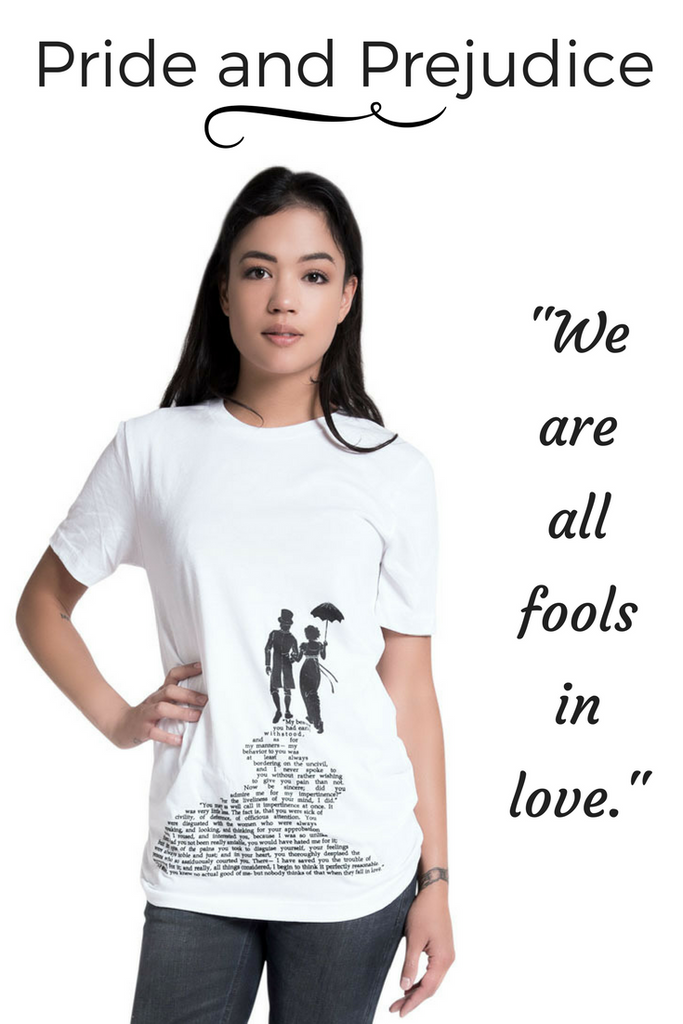 Jane Austen's Pride and Prejudice literary tee from Storiarts
