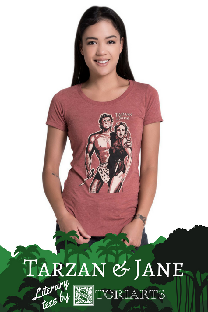 Tarzan & Jane literary tees for men and women by Storiarts