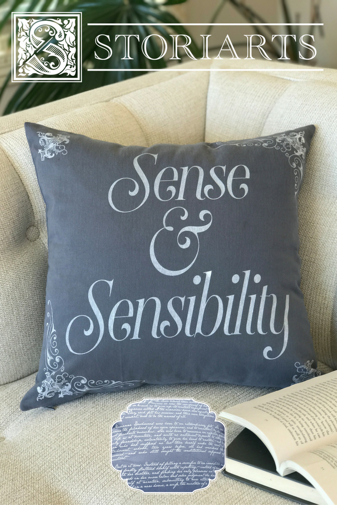 Literary Pillow Covers featuring Sense & Sensibility and many more in Storiarts Home Goods!