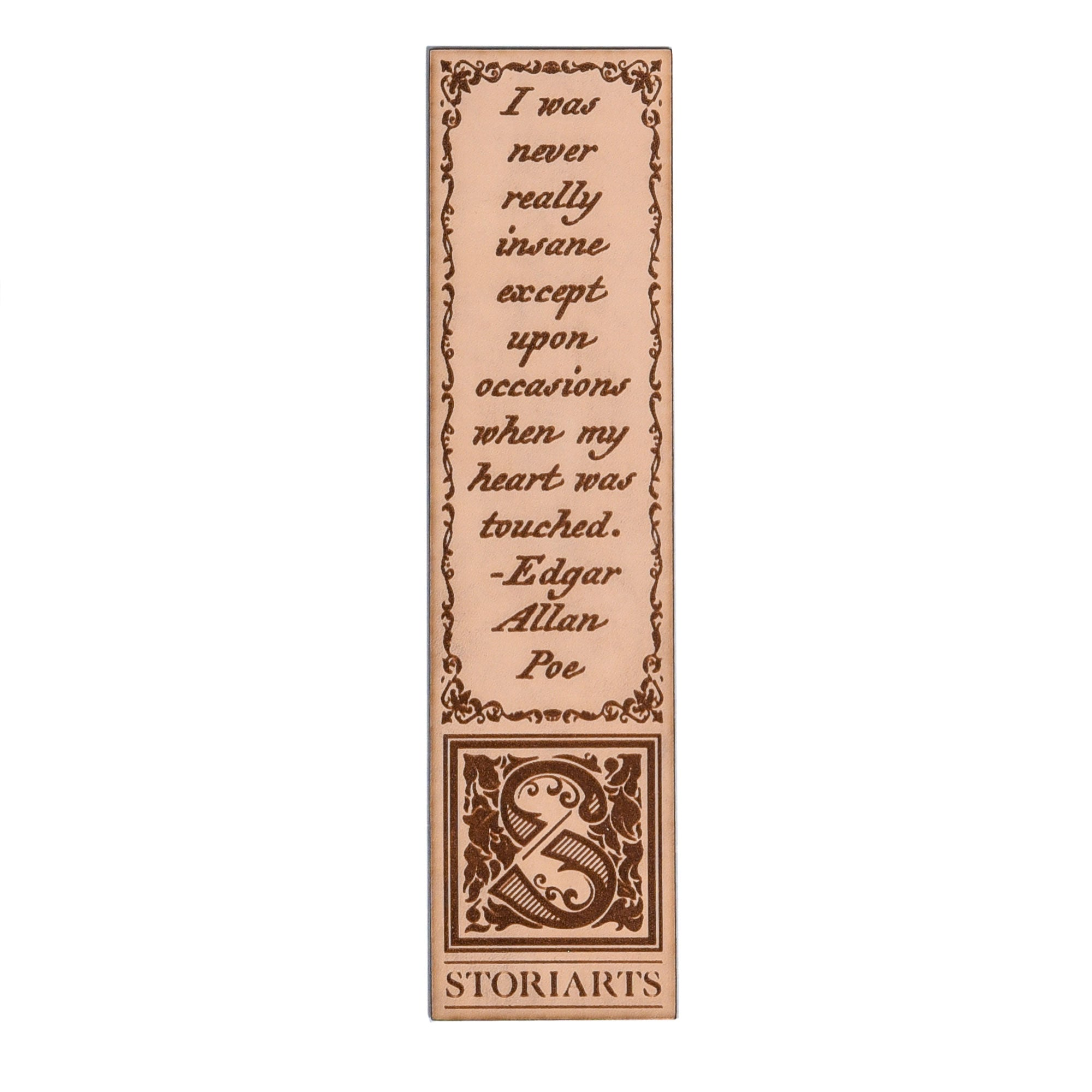 Edgar Allan Poe Leather Quote Bookmark