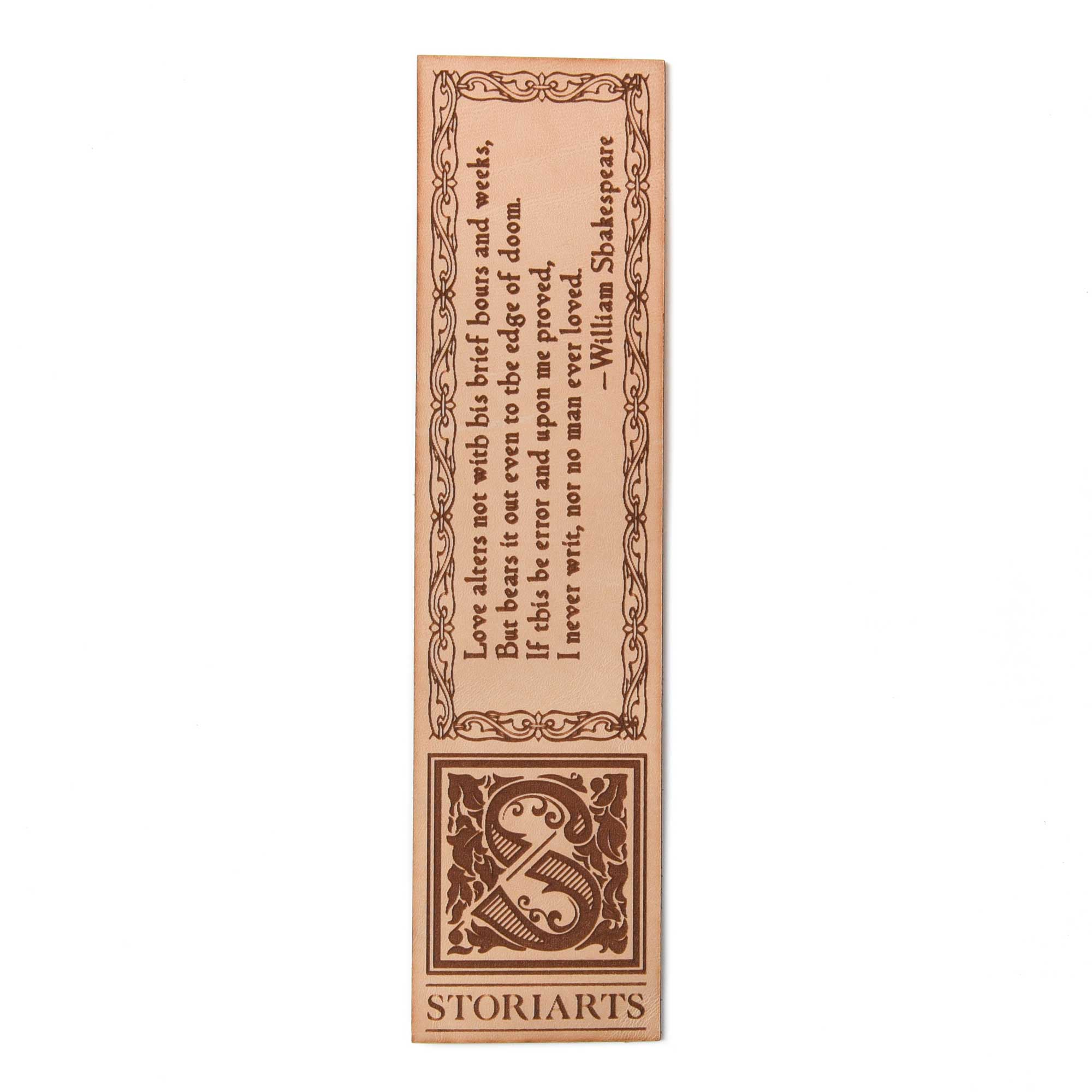 William Shakespeare Leather Quote Bookmark