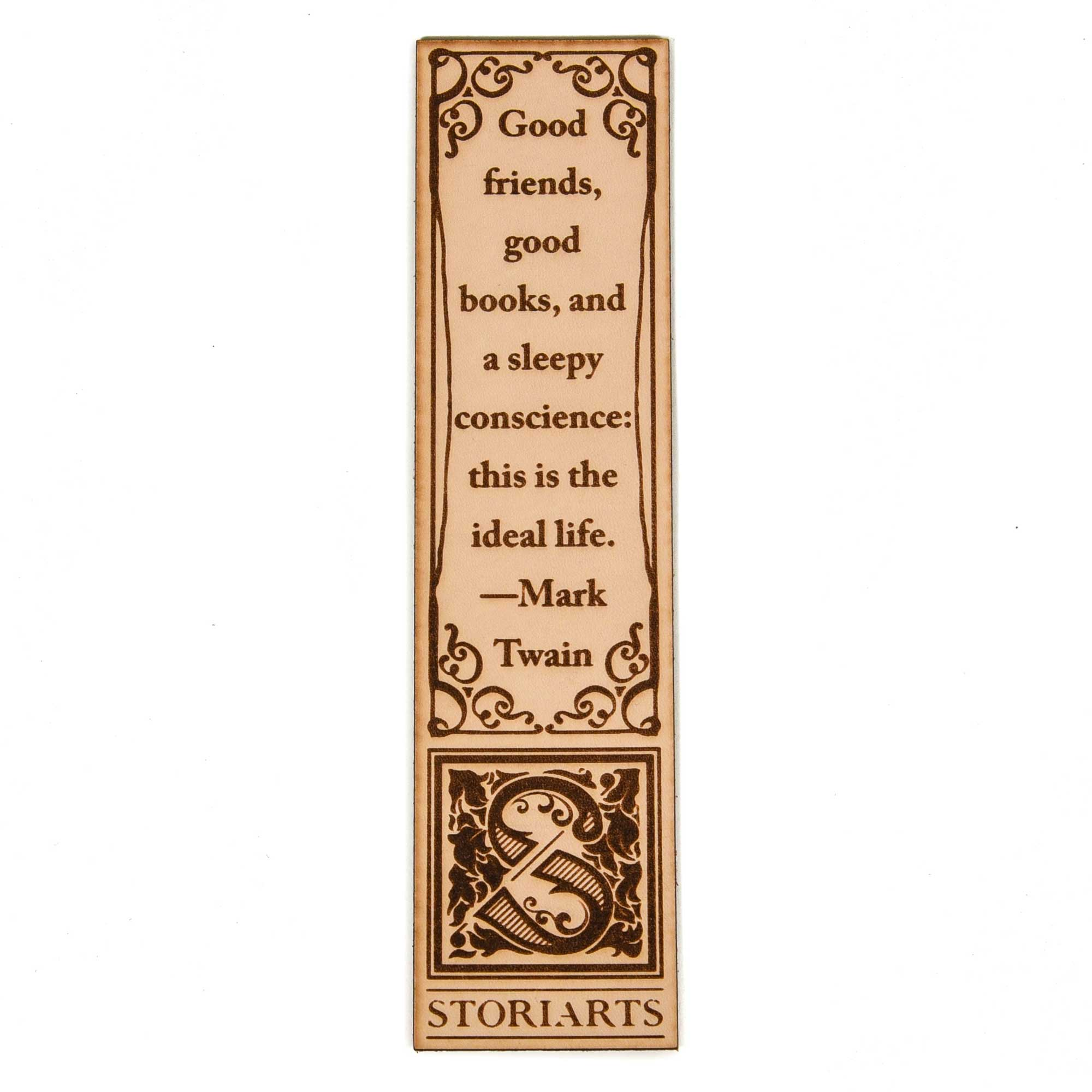 Mark Twain Leather Quote Bookmark