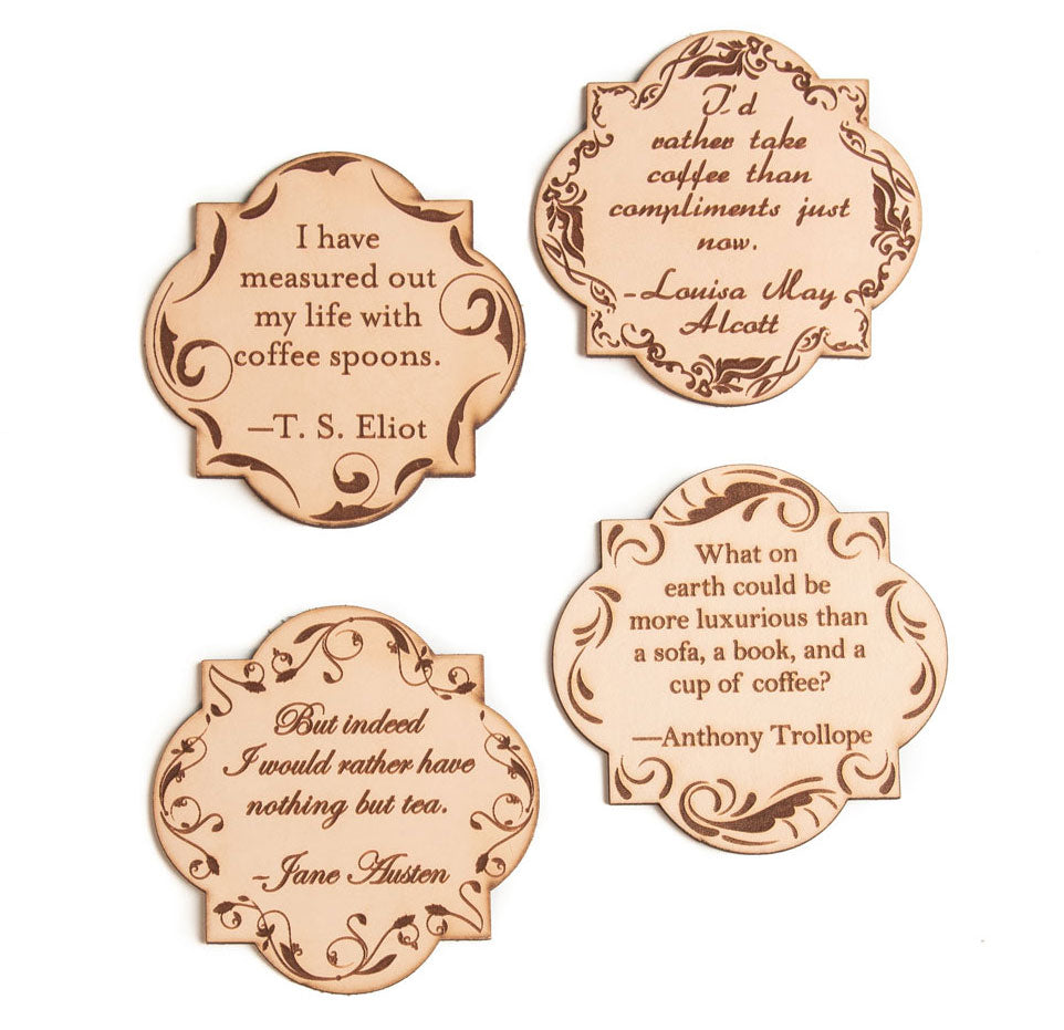 Leather Quote Coasters Set (Warm Drinks)